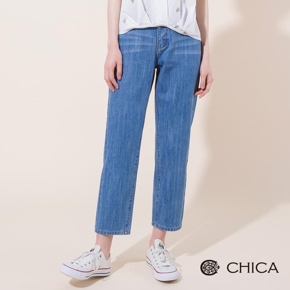 CHICA 率性休閒不對稱口袋刷色牛仔褲(1色)