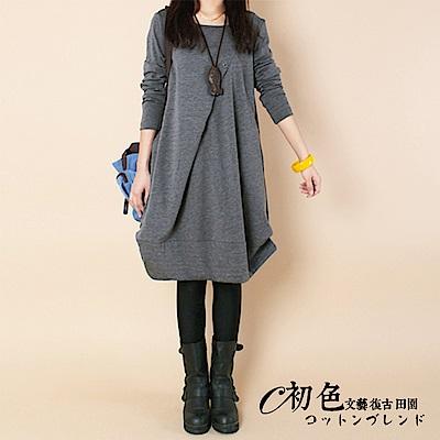 純色不規則下襬連衣裙-共4色(M-2XL可選)    初色