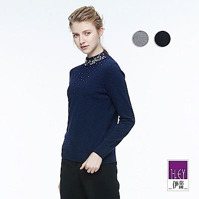 ILEY伊蕾 優雅輕奢縫飾針織上衣(黑/藍)