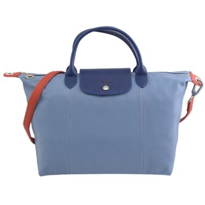 LONGCHAMP Le Pliage Cuir拼色小羊皮兩用手提包(淺藍/中)