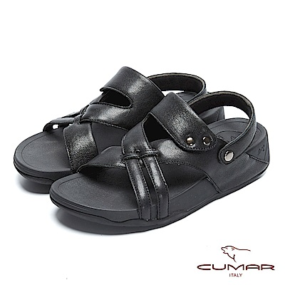 CUMAR 陽光型男 樂活時尚舒適涼鞋-黑