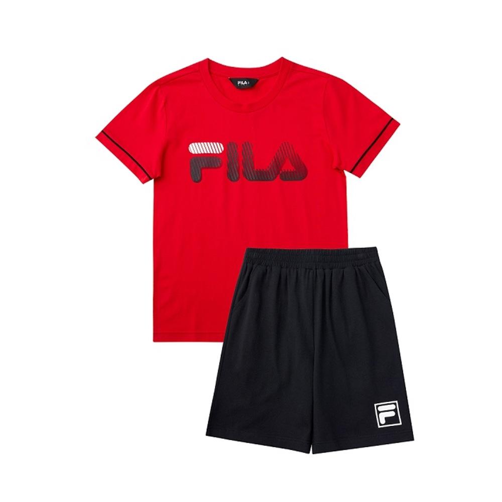 FILA KIDS 童短袖針織套裝-紅 1WTV-4904-RD