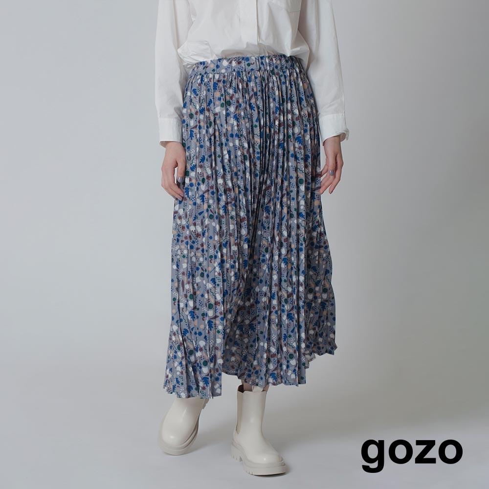 gozo-印花壓褶裙(兩色)