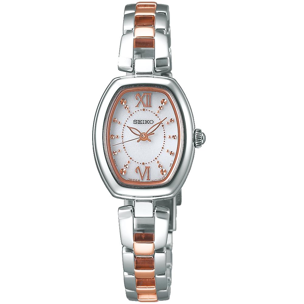 SEIKO精工VIVACE甜美時尚太陽能腕錶(SWFA179J)-銀白