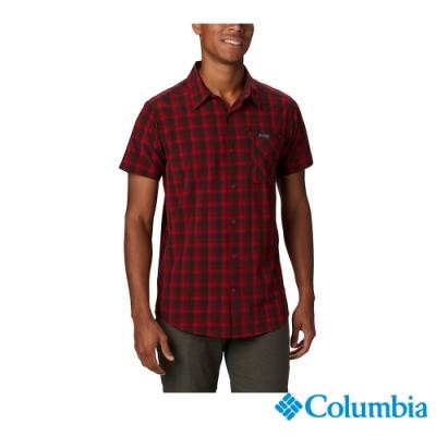 Columbia 哥倫比亞 男款- 快排防曬30短袖格子襯衫-紅色 UEE02850RD