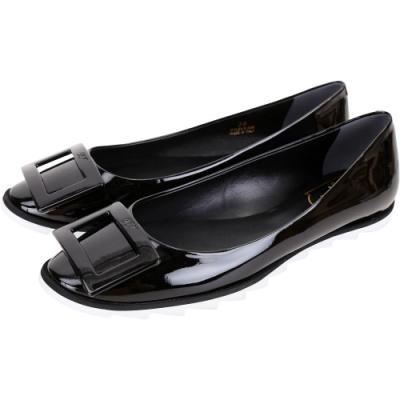 Roger Vivier Gommette 漆皮方框鋸齒狀外底娃娃鞋(黑色)