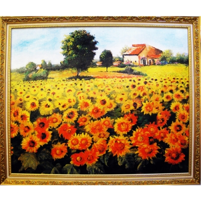 柔美加拿大風光系列 畫作--太陽花【向日葵花田】82x69cm