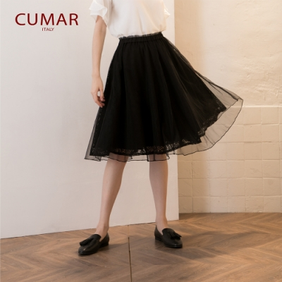 【CUMAR】網紗蕾絲印花造型-長裙(二色/版型適中)