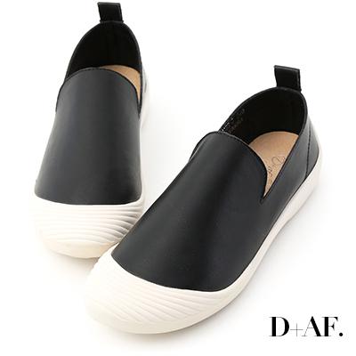 D+AF 柔軟自在.超軟皮素面休閒懶人鞋*黑