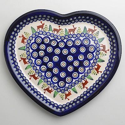 波蘭陶歡樂聖誕系列愛心造型餐盤波蘭手工製