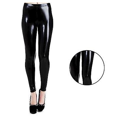 摩達客 英國進口義大利製Pamela Mann 仿漆皮亮面黑色內搭褲