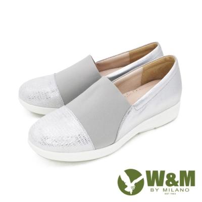 W&M(女)圓頭銀蔥內增高鞋 厚底鞋 自尊鞋-銀灰(另有黑)