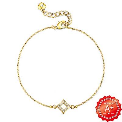 A+黃金 精緻滿鑽菱形 999千足黃金墜手鍊