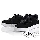 Keeley Ann 暖心冬季~暖暖毛茸鞋緣緞帶蝴蝶結休閒鞋(黑色-Ann)