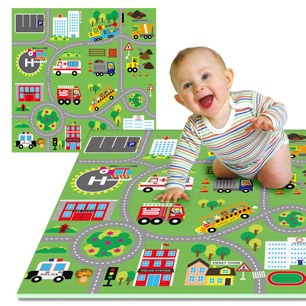 LOG樂格 環保遊戲爬行墊2cm -動物社區(雙面街道款) 120X180cm