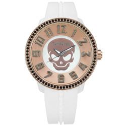 Tendence 天勢錶-骷髏立體時標礦石強化玻璃防水矽膠手錶-玫瑰金x白/52mm