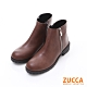 ZUCCA【z6218ce】皮質拼接側拉鍊低跟短靴-棕色 product thumbnail 1