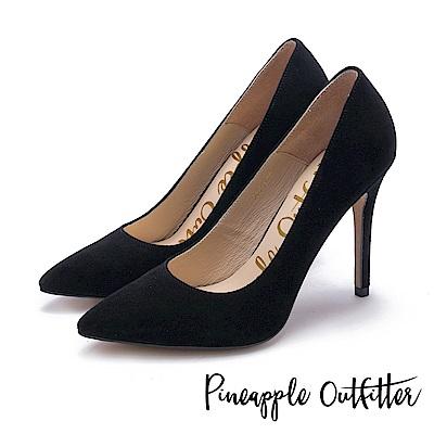 Pineapple Outfitter 性感尤物 素面尖頭高跟鞋-絨黑