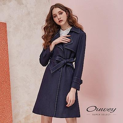 OUWEY歐薇 雙排扣直身剪裁活動式造型腰帶長版翻領風衣外套(藍)