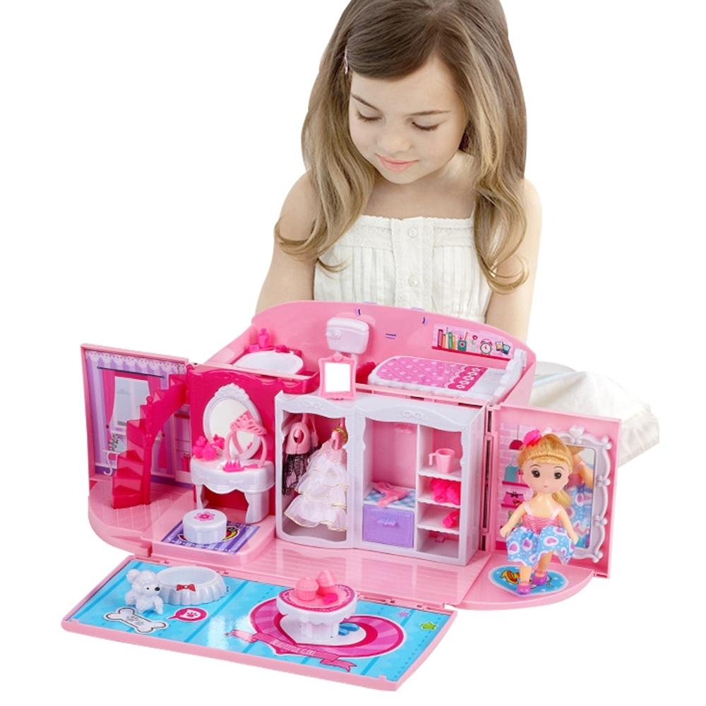 colorland兒童玩具 扮家家酒臥室芭比公主手提玩具箱