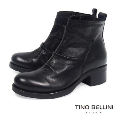 Tino Bellini義大利進口牛皮自然抓皺中跟短靴_黑