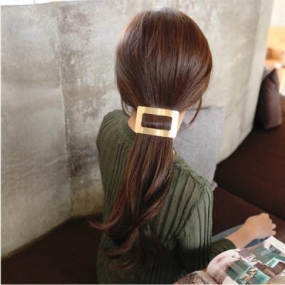【89 zone】法式幾何方塊金屬馬尾彈簧夾髮夾/髮飾(金色)