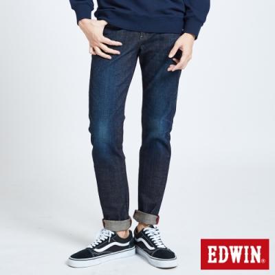 EDWIN EDGE斜紅線窄管牛仔褲-男-中古藍