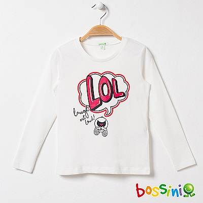 bossini女童-印花長袖T恤01灰白