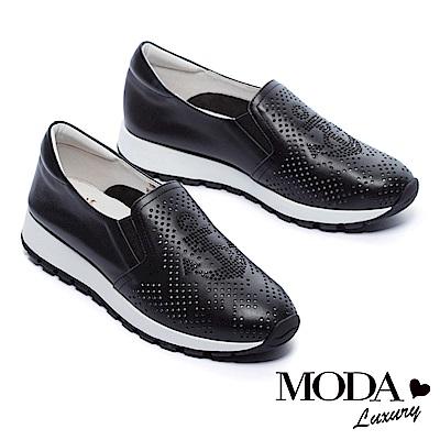 休閒鞋 MODA Luxury 獨特沖孔水鑽船錨造型全真皮厚底休閒鞋-黑