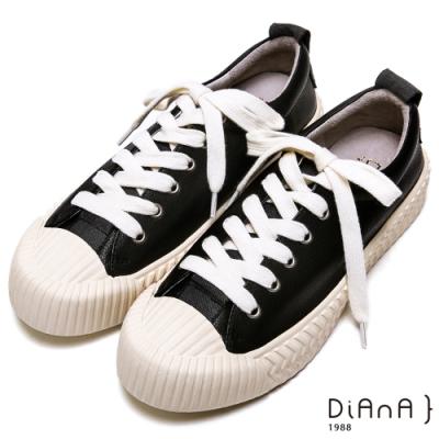 DIANA 時尚潮流-百搭真皮異材質綁帶餅乾休閒鞋-黑