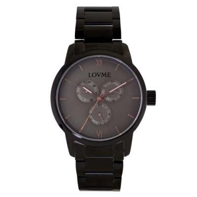 LOVME 紳士質感不鏽鋼三眼手錶-IP黑x灰/43mm