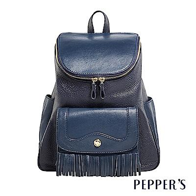 PEPPER`S Gale 羊皮荔牛流蘇後背包 - 午夜藍