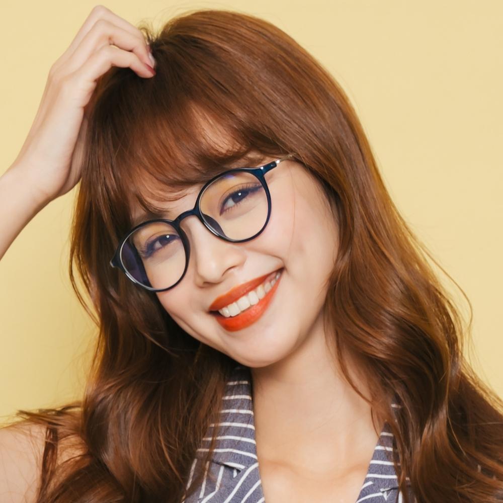 ALEGANT韓星時尚網紅復古水手藍TR90輕量圓框金屬鏡腳UV400濾藍光眼鏡