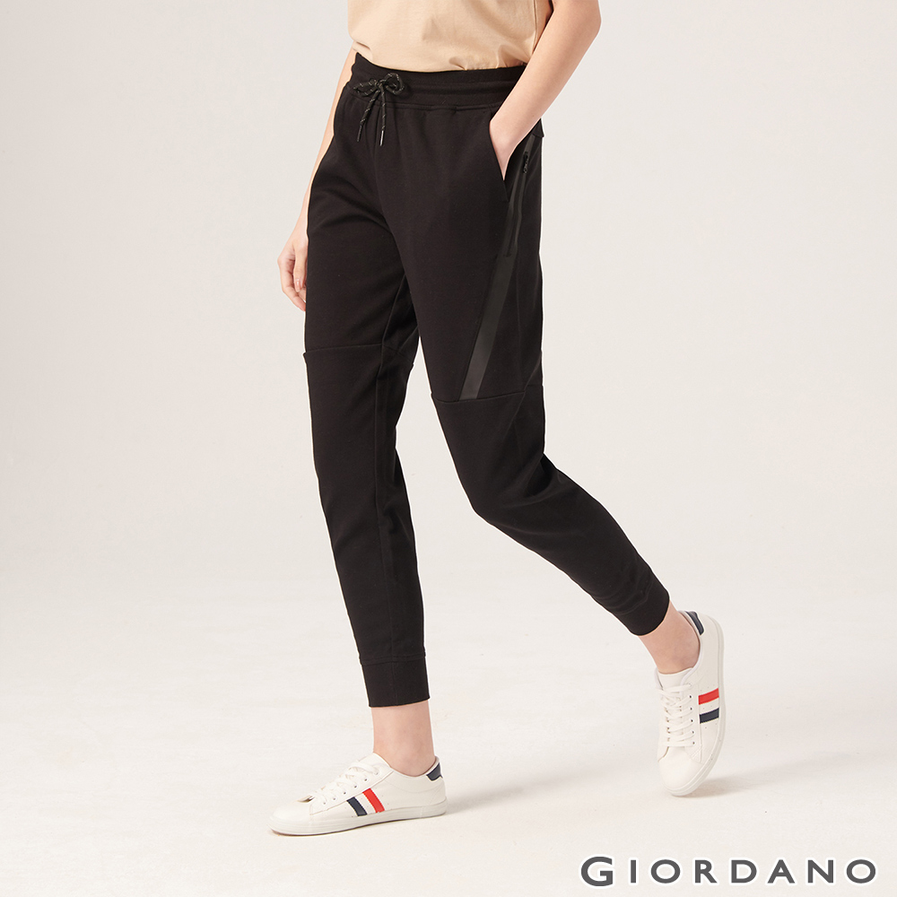 GIORDANO 女裝G-MOTION拉鍊口袋運動束口褲-01 標誌黑
