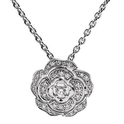 CHANEL Camélia系列經典山茶花鑽石鑲嵌K金墜飾項鍊(銀)