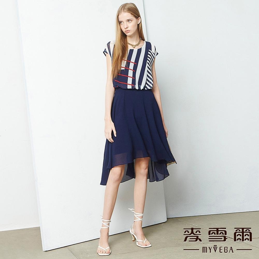MYVEGA麥雪爾 線條相間假兩件雪紡短洋裝-深藍