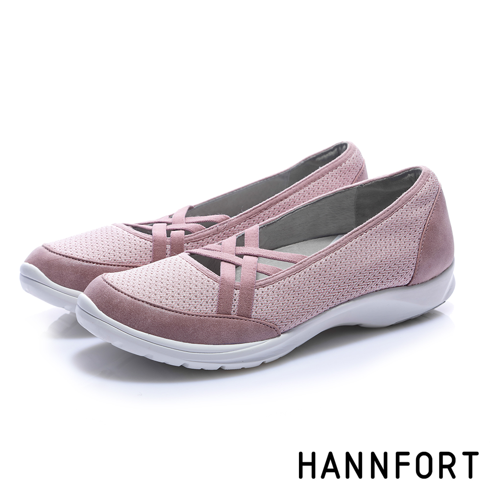 HANNFORT EASY WALK交叉彈性帶氣墊健走鞋-女-霧感粉