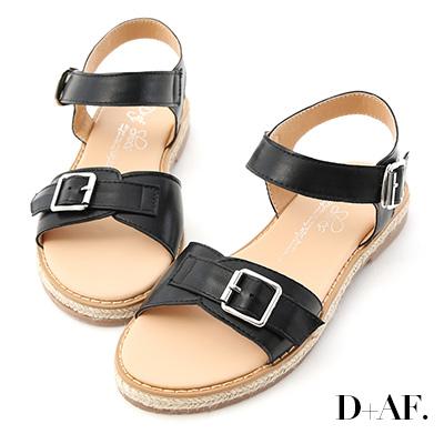 D+AF 悠閒節奏.質感釦環平底草編涼鞋*黑