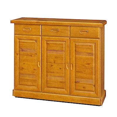 綠活居 寶拉時尚4.1尺實木三門鞋櫃/玄關櫃-124x40x106cm-免組