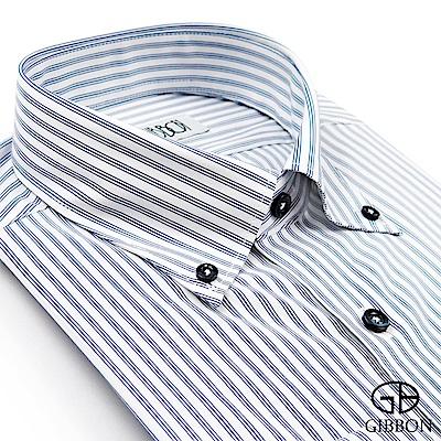 GIBBON 紳仕彈力直條長袖襯衫‧深藍