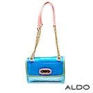 ALDO 透明佐彩色邊框附小包金屬鍊帶包~霓光水藍