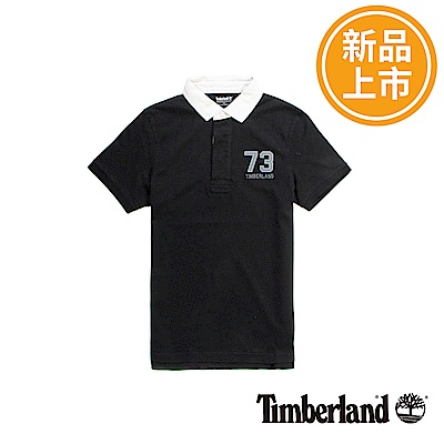 Timberland 男款黑色衣領撞色短袖POLO衫