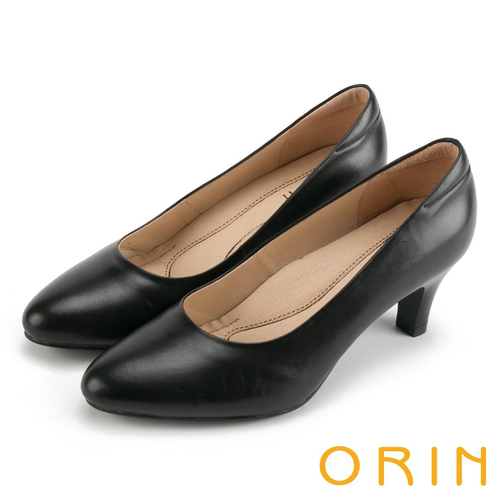 ORIN 典雅輕熟OL 嚴選牛皮素面百搭中跟鞋-黑色