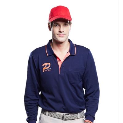 Londa Polo雙棉PK吸排布男版長袖POLO衫P59665黑藍色