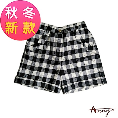 Annys可愛小星星棋盤格紋蝴蝶結造型口袋短褲*7299黑