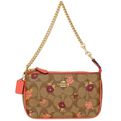 COACH卡其C Logo粉橘玫瑰花圖印鍊帶手提掛小包