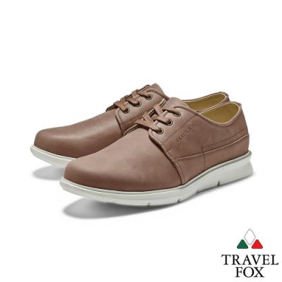 TRAVEL FOX(男)都會派寬楦舒適綁帶彈性大底休閒鞋 - 型男咖