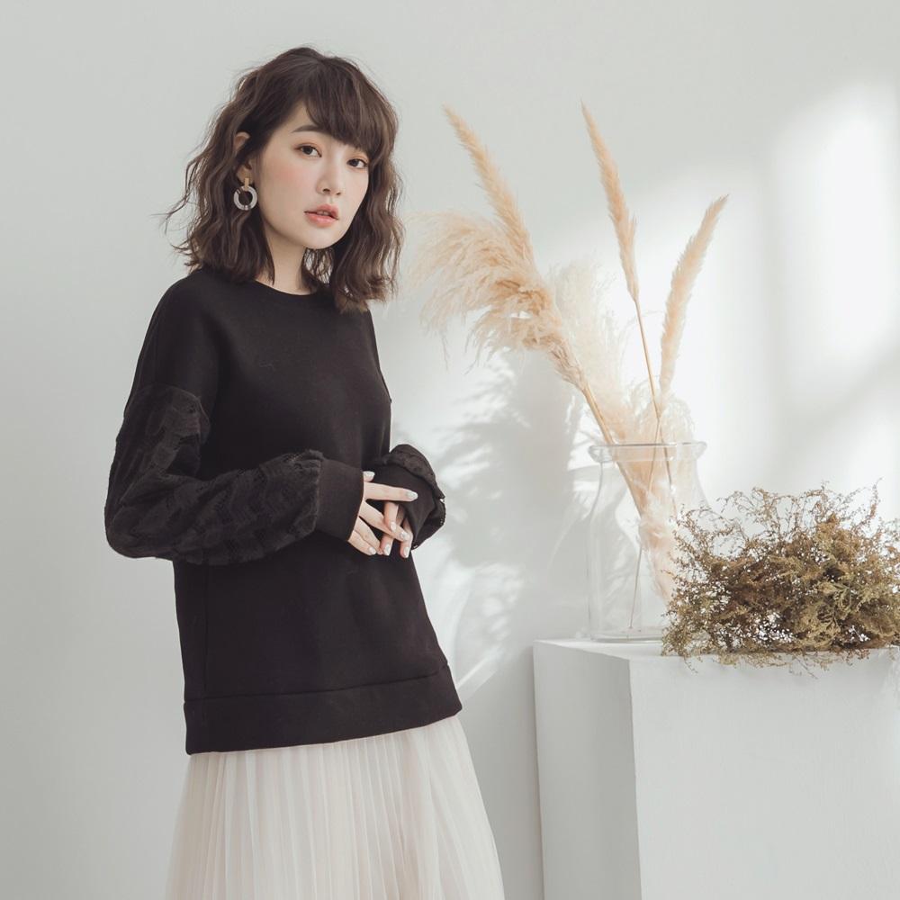 純色內刷毛拼接蕾絲衛衣上衣-OB嚴選 @ Y!購物