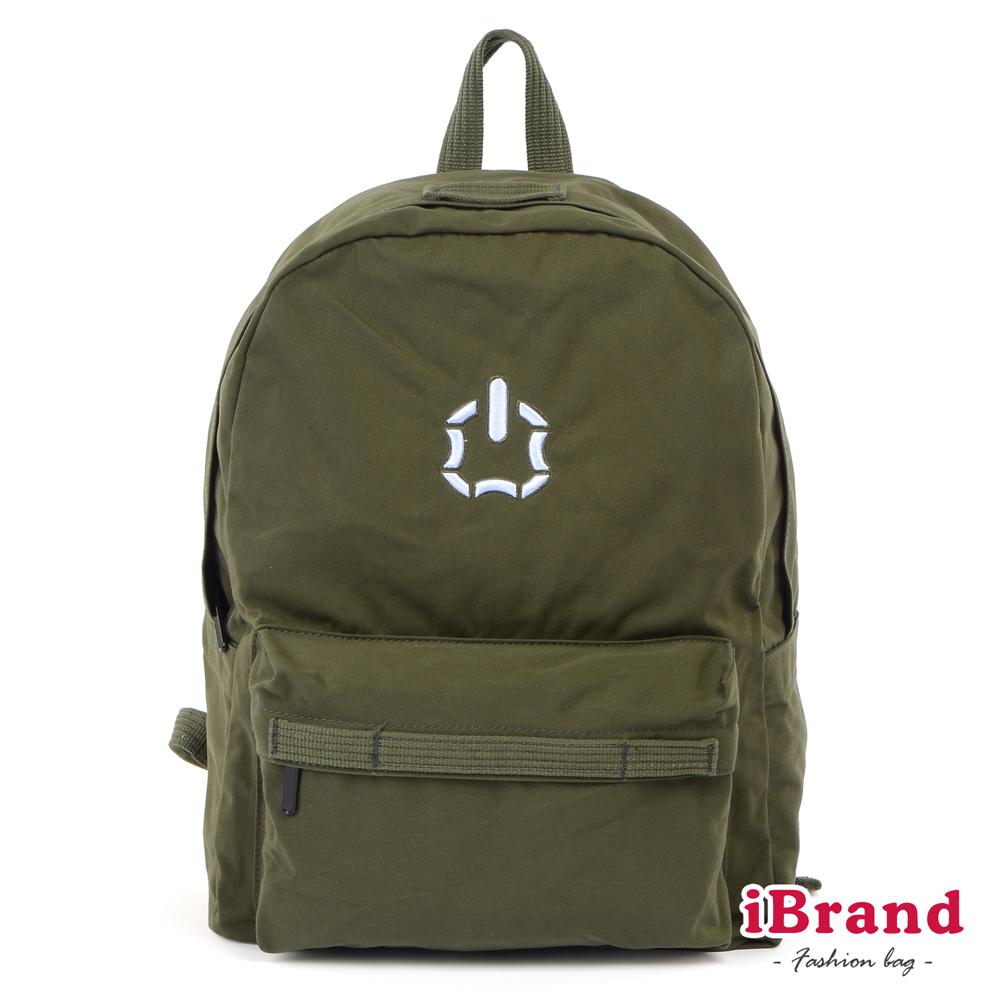 iBrand後背包 簡約素色輕旅行多功能後背包(大)-軍綠色