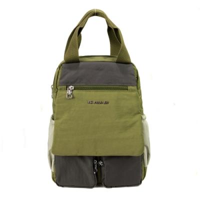 ANGIMI SHOP 後背手提多口袋兩用包 玩色邦妮-和煦綠